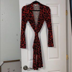 DVF Diane Von Furstenberg lip print wrap dress